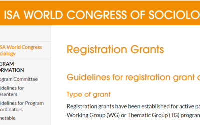 Travel Grants for Young Scholars (ISA Congress in Toronto)