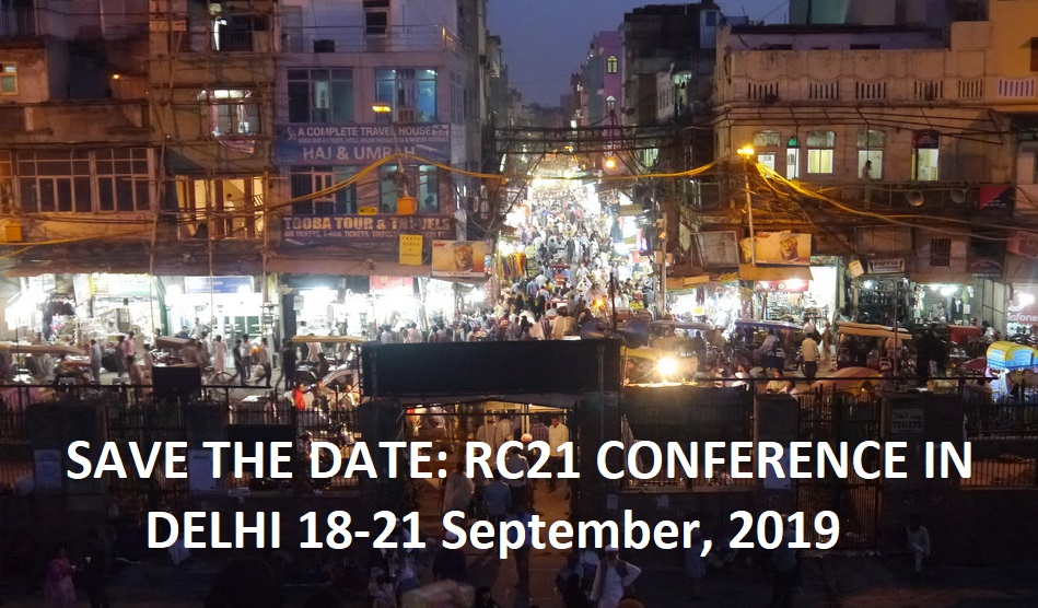 Save the date! RC21 Delhi Conference 18-21 September, 2019